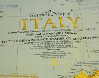 Italian National Geographic Traveler's Map 1976 revision, 23x32.5 Italy NGM November 1961, 19x25