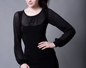 Chiffon Blouse with Long Sleeves-Made to Measure