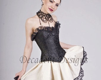 Black Silk Overbust Corset-Made to measure (Your size)