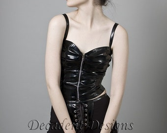 Ruched PVC Bustier with front zipper-Made to Measure (Your Size)