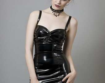 Black PVC Cocktail Dress-Made to Measure (Your Size)
