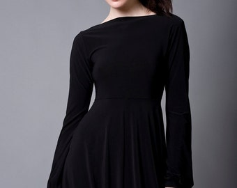 Black Bubble Dress with Long Sleeves-Made to Order