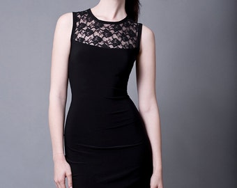Sleeveless Cocktail Dress with Lace-Made to Order