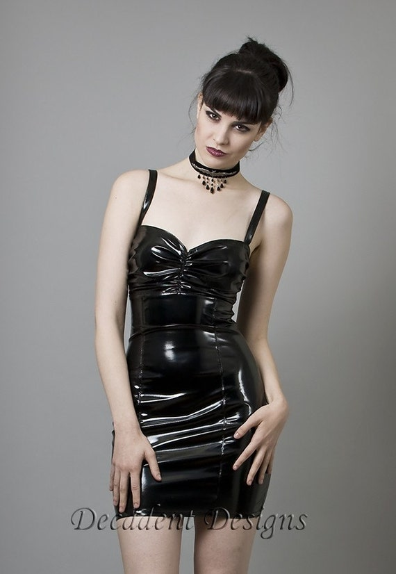 Black/Red PVC Cocktail Dress-Made to Measure (Your Size)