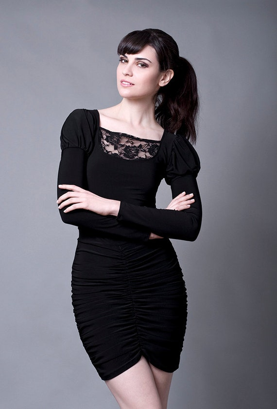 Black Tulip top with lace-Small (Sale)
