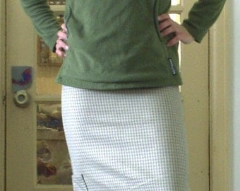 Olive Green Houndstooth Ska Skirt A-Line Cut Size 1 to 3