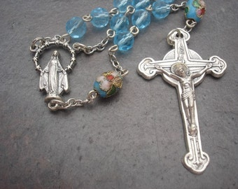 Crystal Rosary in Light Sapphire with Cloisonne Our Father Beads, 5 Decade Rosary, Catholic Rosary