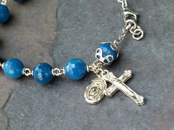 Royal Blue Agate Gemstone Rosary Bracelet