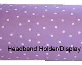Purple with White Polka Dot Headband Holder