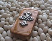 Silver Cross - Medium Altered Domino Pendant