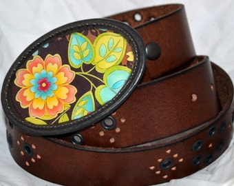 The Nellie Belt - Turquoise, Lime and Orange Buckle with Brown Leather Belt