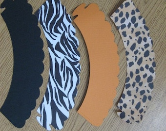 ANIMAL PRINT LEOPARD ZEBRA CUPCAKE WRAPPERS ONE DOZEN CHOOSE SOLID COLOR