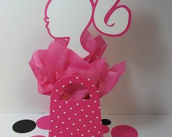 Barbie pink white polka dot purse decoration