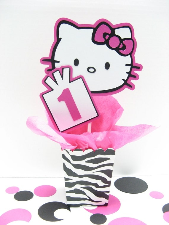 Items similar to ZEBRA print Hello Kitty birthday decorations