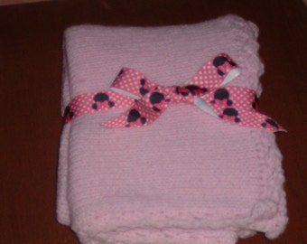 Light Pink Soft Knitted Baby Blanket