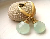 Aqua Chalcedony earrings Mint seafoam briolettes gold earrings by Vitrine Beach wedding Gift for her Under 50 - Vitrine