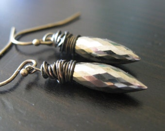 Dewdrop earrings Spike earrings Rock n Roll earrings Metallic Jewelry Pyrite Drops by Vitrine