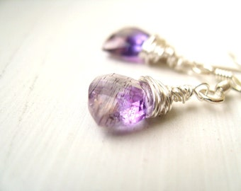 Moss Amethyst Silver Earrings Princess Cut February Birthstone Jewelry by Vitrine Gift for her Under 55