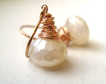 Bridal earrings White chalcedony pearl earrings Rose gold Wedding jewelry by Vitrine