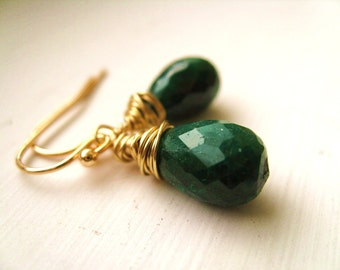 Emerald earrings May Birthstone emerald gemstone Dangles by Vitrine Gift for her Under 125