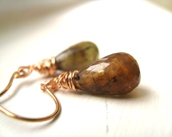 Andalusite earrings Rose gold earrings green rust orange by Vitrine gift for her under 50