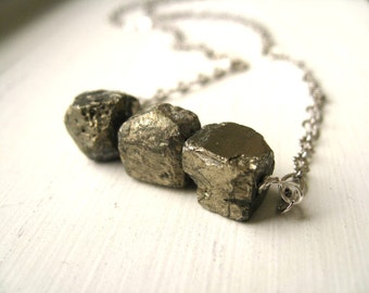 Pyrite necklace Grey Raw nugget jewelry Stormy night Fool's Gold by Vitrine