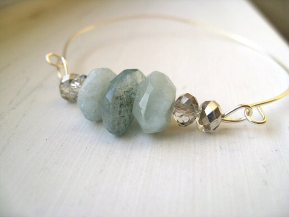 Aquamarine gemstone bangle March birthday Pale blue by Vitrine gift for her