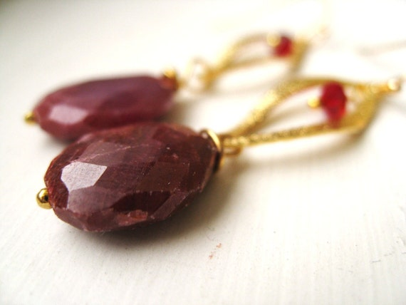 Raw Ruby Earrings Statement earrings for her Under 75 Oxblood Statement earrings by Vitrine July birthday