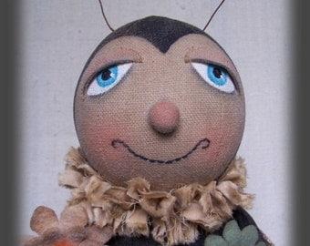 Biz Bee, Bumble Bee, Primitive, Folk Art, Doll, E Pattern