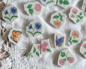 Garden Flowers, Butterflies, Leafy Vines, Broken China Mosaic Tiles. There are 110 plus pieces. This set has it all.