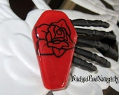 WBN Red Rose Glass or Death Hair Clip
