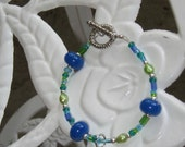 WBN Blue Lampwork Glass Beads Seahorse Bracelet WickedBadNaughty Glass