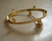 Gold Plated Brooch Setting with Prongs 40x30mm SET006