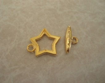 5 pairs Gold Plated 15mm Star Toggle Clasps LCC017