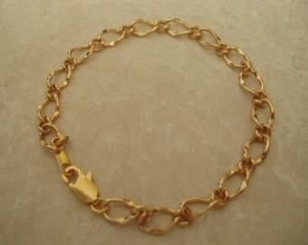 Gold Plated Figaro Chain, Blank Charm Bracelet  DIY01