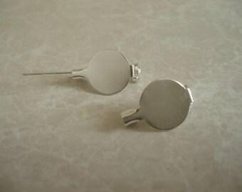 Half Inch Round Silver Plated Pinback Setting (10pcs.) SET029