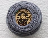 DMC 414 - Dark Steel Gray - Perle Cotton Thread Size 8