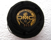 DMC 310 - Perle Cotton Thread Size 12 Black 310 - Great to use with Felt