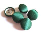 "Lot of 10, 5/8"" (15 mm)  Hunter Green Satin Buttons"