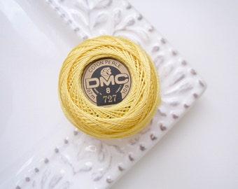 DMC Perle Cotton Thread Size 8 Very Light Topaz 727 - Vibrant Yellow