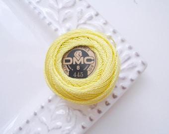 DMC Perle Cotton Thread Size 8 Light Lemon Yellow 445