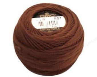 DMC Perle Cotton Thread Size 8 Dark Coffee Chocolate Brown 801