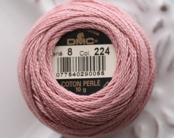 DMC 224 - Very Light Shell Pink - Perle Cotton Thread Size 8