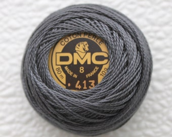 DMC 413 - Dark Pewter Gray - Perle Cotton Thread Size 8