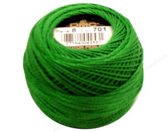 DMC 701- Perle Cotton Thread Size 8 - LT Green - Light Green - Great to sew Felt too