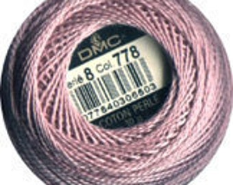 LAST ONE - DMC Perle Cotton Thread Size 8 Very Light ANtique Mauve - 778