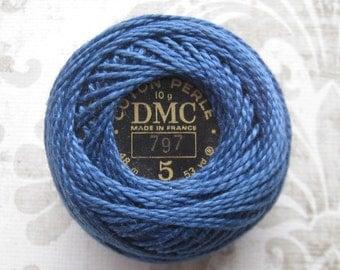Last One - DMC 797 - Royal Blue - Perle Cotton Thread Size 5
