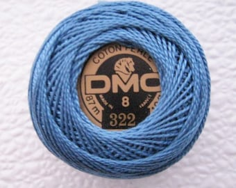 DMC 322 - Dark Baby Blue - Perle Cotton Thread Size 8