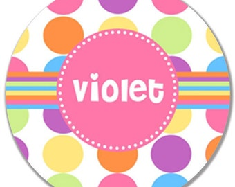 Polka Dot Personalized Plate