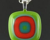 Fused Glass Pendant - Bullseye Design in Bold Pea Green/Orange/Teal